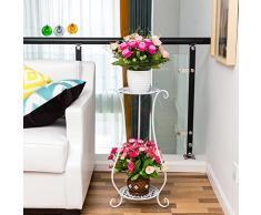 sungmor 2 Tier soporte de placa de hierro arte maceta Stands, 2 macetas jarrón maceta de planta soporte suelo estante, pantalla interior y exterior jardín patio corredor decorativo flor accesorio de