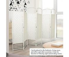 GOTOTOP Divisor de Habitación de 6 Paneles Separador de Espacios Plegable 170 x 240cm Biombo Separador de Bambú Natural y Papel Trenzado para Dormitorio, Salón y Oficina(Crema)