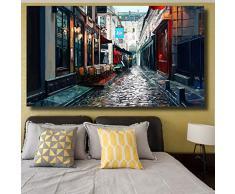 Impresión de la lona Decoración de la pared Pintura de la calle Adoquín Piedra Linterna Silla Paraguas Pintura Imágenes de la pared para la sala de estar Dormitorio Decoración-60X90Cm Sin marco