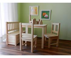 Best-of-JAM - Conjunto de muebles infantiles (1 mesa infantil, 2 sillas infantiles, 1 banco infantil, madera maciza)