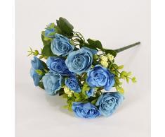 6 rama por ramo de flores artificiales pequeñas rosas con hojas para regalo de Navidad decoración casera, 6 colores