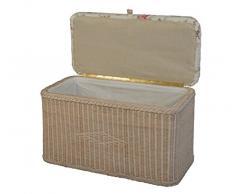 Asiento baúl de ratán/baúl Banco/ropa sucia con asiento acolchado/EN EL Color Vintage Blanco