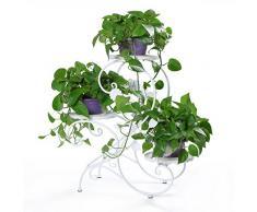 """HLC Carcasa de metal escalera de flores para las plantas con 3 cestas,diseño moderno """"S"""",color blanco"""