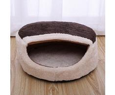 QHGstore Perrito del gato del perro cómoda cama caliente suave de la felpa de la fresa mascota perrera de la casa marrón