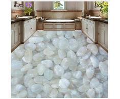 Papel tapiz 3D personalizado para el piso Adoquín blanco Sala de baño Cuarto de baño Mural impermeable Vinilo autoadhesivo Papel tapiz fotográfico 3D 300x200cm