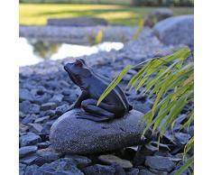 Gárgola Figura de rana en piedra para jardín estanque Brunnen Platillos Figura de agua parte Estanque