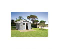 Caseta cobertizo resina jardin grosfillex deco 12 color blanco - gris
