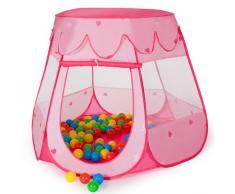 TecTake Carpa de juegos con 100 bolas piscina de bolas carpa infantil con bolsa rosa