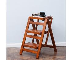 Trona para niños Banco de madera maciza / Taburete de tres escaleras / Taburete de escalera / Escalera plegable de uso dual / Taburete de madera de la escalera (425 * 555 * 660 Mm)
