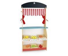 Juguete 2en1: teatro y mercado + alimentación todo de madera, teatro de marionetas, Puesto de mercado de juguete, Tienda de juguete de madera maciza