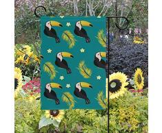 OKONE - Bandera de jardín de Doble Cara con diseño de baldosas de tucán para Patio al Aire Libre, 28x40(in)