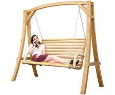 Columpio de madera Alerce | Juego de jardín columpio | estructura de madera con 3 plazas banco de madera, para interior y exterior
