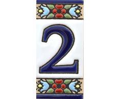 ART ESCUDELLERS Números casa. Numeros y Letras en azulejo Ceramica policromada, Pintados a Mano técnica Cuerda Seca. Nombres y direcciones. Diseño Flores Mini 7,3 cm x 3,5 cm. (Numero Dos 2)