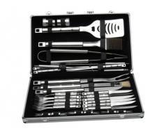 BergHOFF 1108322 Cubo - Juego de utensilios y cubiertos para barbacoa (acero inoxidable, 33 piezas, incluye maletín de transporte)