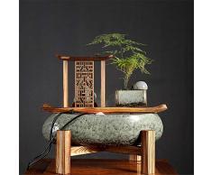 Dfghbn Fuente de Interior Chino de cerámica decoración de Agua Que Fluye Zen Crafts Fuente Viva de decoración de Interior Fuente de Agua de Mesa (Color : Photo Color, Size : 36.5x34x29.5CM)