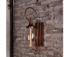 LOSA American Creative Lámpara De Pared Exterior Retro Villa Paredes Exteriores Luz Patio Luz Impermeable Gran Vidrio Pasillo Balcón Pared 20 * 66Cm