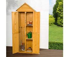 TecTake Caseta de exterior Armario de madera de jardín para herramientas cobertizo con tejado en punta | 69 x 60 x 211 cm