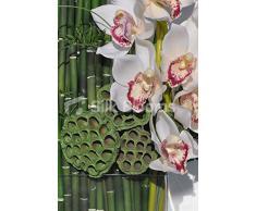 Moderno blanco Artificial de la orquídea Cymbidium, vaina del loto y de arreglo Floral de bambú