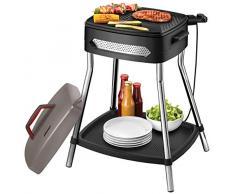 Unold Grill 58580 Barbecue Power-Barbacoa eléctrica (2000 W, Gran Placa Antiadherente, Mesa Estable con Estante, Completamente Desmontable), Negro, Gris, Acero Inoxidable