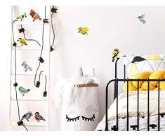Pegatina de pared Juego de habitación infantil Lindos pájaros con coloridos colibríes rama de pájaro baño de niños animales aéreos cuarto de chicas figuras deco cuarto de bebé animales de jardín