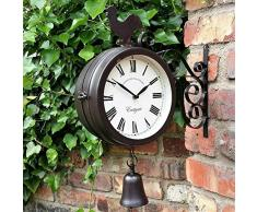 iYoung Reloj De Pared, Reloj De Metal Reloj De Pared Reloj Colgante con Forma De Campana De Gallo, Reloj De Jardín De Hierro Forjado Al Aire Libre Moda Innovadora Pared De Doble Cara