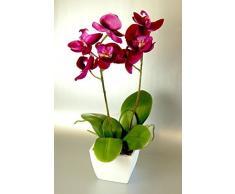 Seda Artificial Rosado Fucsia de Mini Orquídea en un Crisol