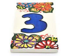"""ART ESCUDELLERS Números casa. Numeros y Letras en azulejo de Ceramica Hechos y Pintados a Mano, para Placas con Nombres, direcciones y señaléctica. Diseño Jardin 14,5 cm x 7 cm. (Numero Tres 3"""")"""