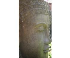 Agua jemer cabeza, 84 cm de alto, piedra como fuente Buda dorado impresionante