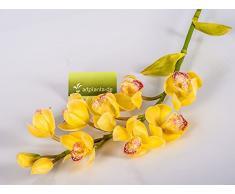 Decorativa rama de Cymbidium JELENA, aspecto natural, 8 flores, amarillo-fucsia, 70 cm - Rama de orquídea / Ramificación artificial - artplants