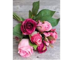 Ramo de rosas artificiales Mini-MOLLY con 8 rosas, rosa-fucsia, 25 cm, Ø 15 cm - Ramillete sintético / Flores decorativas - artplants