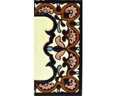 """Letreros con numeros y letras en azulejo de ceramica policromada, pintados a mano en técnica cuerda seca para placas con nombres, direcciones y señaléctica. Texto personalizable. Diseño ARCO GRANDE 14,9 cm x 7,4 cm. (MARGEN """"CENEFA"""")"""