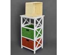 ts-ideen Cómoda mesa auxiliar, 72 cm altura baño piso Cocina Niños Estantería en blanco con tres cajones de ratán
