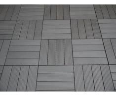 EVERFLOOR WPC marca Gartenfreude (= madera / mezcla de plástico) baldosas de patio perfil macizo gris oscuro 10 piezas, 30 x 30 cm (aprox. 0,9m2)