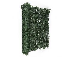 Blumfeldt Fency Dark Ivy valla de protección visual y anti viento (Malla sombreo 300x100 cm, cubierta exterior sombreadora, pantalla privacidad balcón terraza jardín, decoración imitación hiedra verde oscuro)