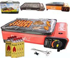 Camping BBQ Parrilla de gas gas horno grill portátil barbacoa mesa grill Incluye parrilla parrilla parrilla + +-Palillos + 8x Cartuchos de Gas + TRAG maletín (Color: Negro, Rojo o Orang)