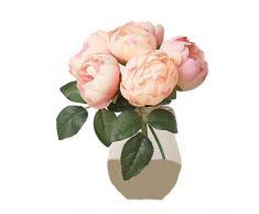 DELEY Redondo Rosa Peonía Ramo Falso Flores Artificial Arreglos Novia Fiesta Oficina Casa Hogar Decoración Boda Bouquet Rosa Claro