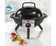 Hoberg D1000216 - Barbacoa compacta mesa de la parrilla, parrilla de mesa eléctrico con negro bio-lon revestimiento cerámico antiadherente, negro