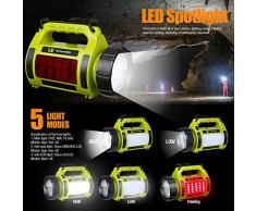 LE Linterna Recargable 1000lm LED Regulable, Faro de Búsqueda con Función Power Bank, Resistente al agua