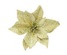 Longra Plantas y Flores Artificiales Decoraciones para Árboles De Navidad Hueca La Navidad Purpurina Artificial De Flor Decoración del Hogar (Oro)
