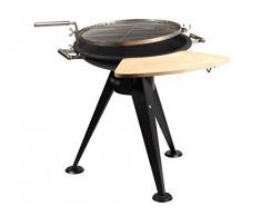 Barbacoa de carbón FireFriend BQ-6870 – Diámetro de la superficie de cocinado: 55 cm – Mesa auxiliar de madera