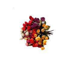 DAYAN Ramo de 2 Mini Rosas Peonía falsa de tela Hortensia flores Artificiales Adorno para Boda Ceremonias Evento hogar decoración color rojo