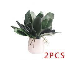 Zerama Hoja de la Planta 2pcs Artificial de la orquídea Phalaenopsis en Maceta Hojas de Ministerio del Interior Decorativo