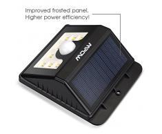 Mpow Foco Solar 8 LED Versión Mejorada Lámpara Solar Impermeable con Senosr de Movimiento,Lámpara de Pared / Jardín para Patio, Terraza, Patio, Jardín, Casa, Camino de Entrada, Escaleras, Pared Exterior
