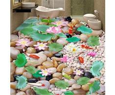 Zybnb Papel Pintado 3D Personalizado Foto Estilo Chino Adoquín Lotus Cocina Sala De Estar Baño Piso Pvc Autoadhesivo Mural Wallpaper-350X250Cm