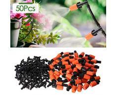 KING DO WAY 50 Boquillas para Riego con 50 Conectors en T para Riego por Goteo Sistema de Riego DIY para Irrigación Jardín Invernadero (Naranja y Negro)