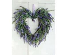 Corazón de lavanda artificial, violeta claro, Ø 45 cm - Corona sintética / Composición floral - artplants