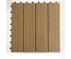 Suelo de madera de diy/aire libre,terraza,jardín,pisos de madera/balcón suelo de madera de plástico/suelo de madera de diy-B 30x30cm(12x12inch)