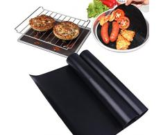 Esteras de barbacoa Luxebell Parrilla de barbacoa Tapones de horno no adherentes FDA aprobado horneado reutilizable y resistente al calor, perfecto para hornear en gas, carbón eléctrico (Pack de 5)