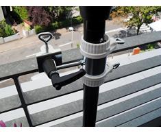 Holly productos STABIELO - balcón para sombrilla de 25.5 hasta Ø 50 mm - 2 pcs - balcón soporte para paraguas - Grande - Para 25-50 mm de diámetro - distancia de la sombrilla para balcón barandilla para al aire libre o en