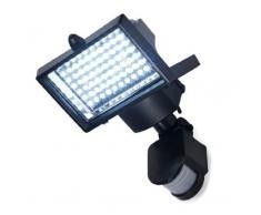 Express Trading - Reflector con panel solar y sensor de movimiento PIR para exterior (60 luces LED, color blanco)